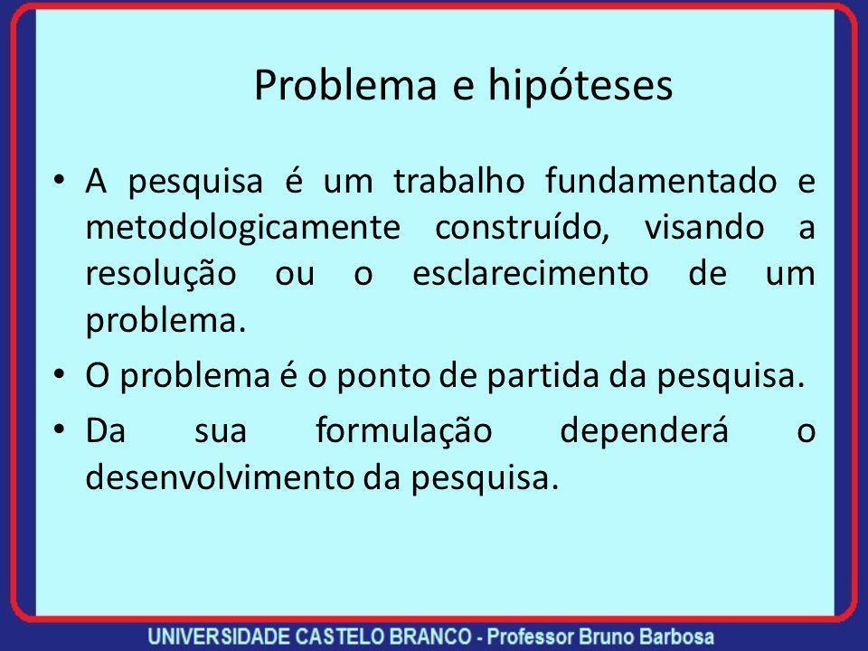 Problema e hipóteses A pesquisa é um trabalho fundamentado e metodologicamente construído, visando a resolução ou o esclarecimento de um problema.