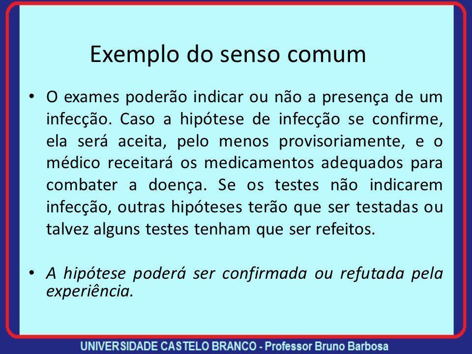 Exemplo do senso comum O exames poderão indicar ou não a presença de um infecção.
