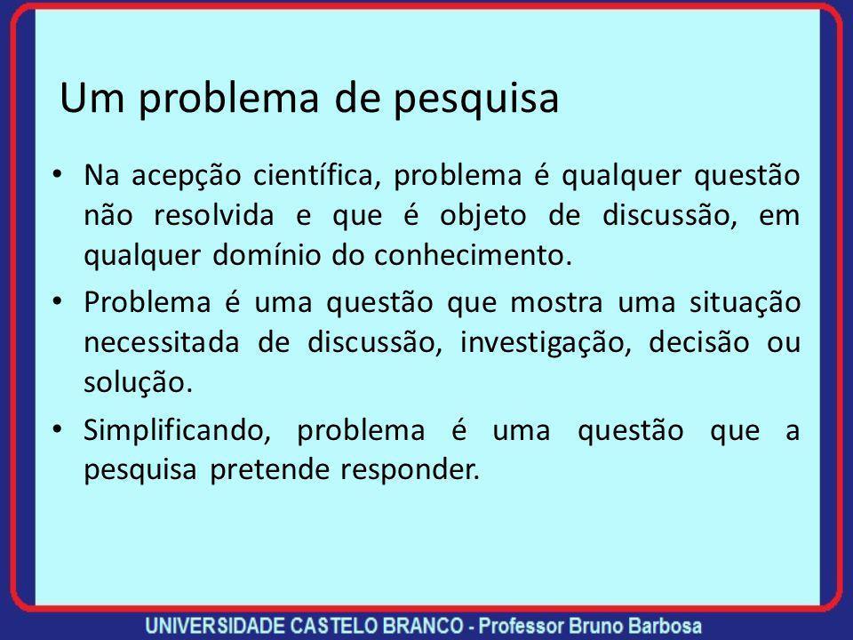 Um problema de pesquisa Na acepção científica, problema é qualquer questão não resolvida e que é objeto de discussão, em qualquer domínio do conhecimento.