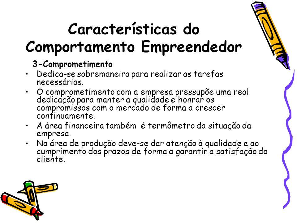 Características do Comportamento Empreendedor 3-Comprometimento Dedica-se sobremaneira para realizar as tarefas necessárias. O comprometimento com a e