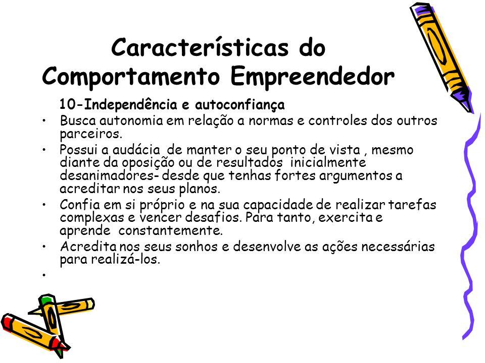 Características do Comportamento Empreendedor 10-Independência e autoconfiança Busca autonomia em relação a normas e controles dos outros parceiros.