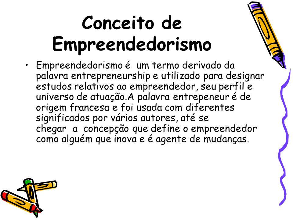 Conceito de Empreendedorismo Empreendedorismo é um termo derivado da palavra entrepreneurship e utilizado para designar estudos relativos ao empreende