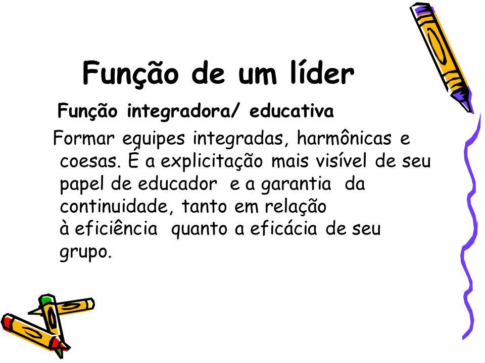 Função de um líder Função integradora/ educativa Formar equipes integradas, harmônicas e coesas.