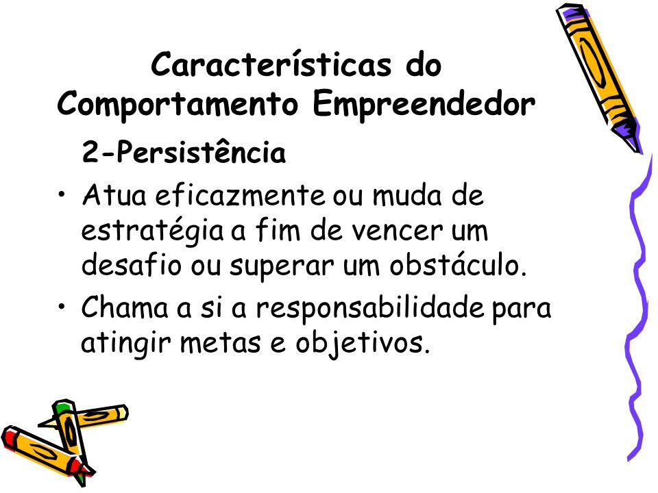 Características do Comportamento Empreendedor 2-Persistência Atua eficazmente ou muda de estratégia a fim de vencer um desafio ou superar um obstáculo.