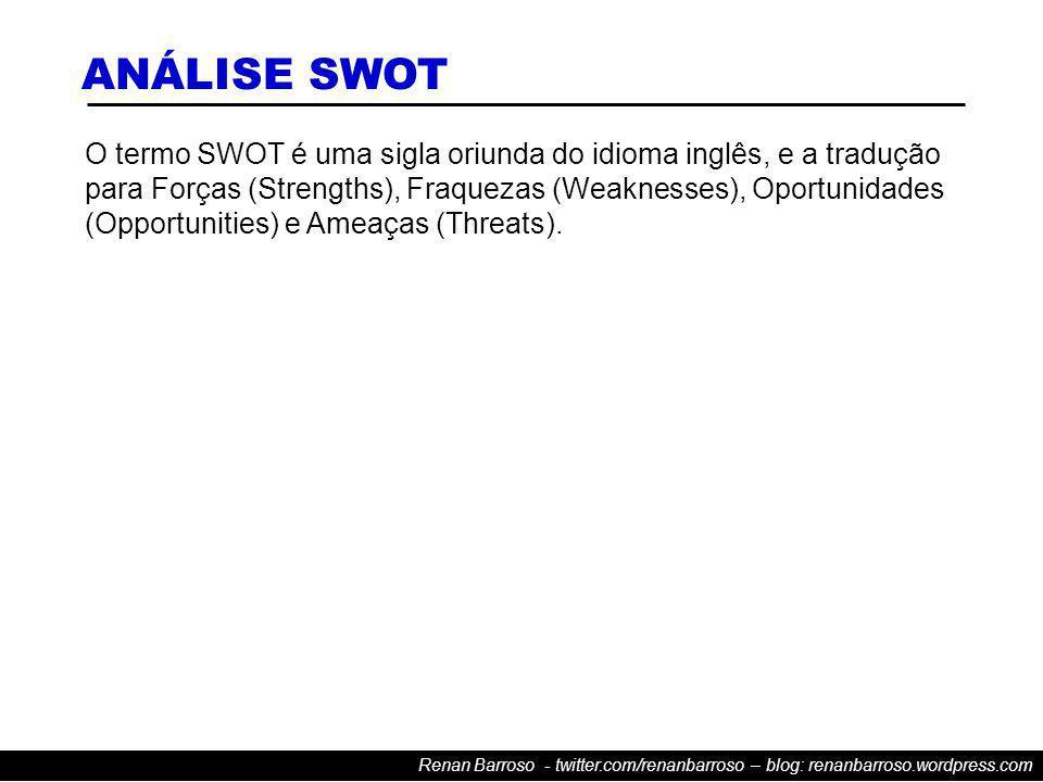 Renan Barroso - twitter.com/renanbarroso – blog: renanbarroso.wordpress.com O termo SWOT é uma sigla oriunda do idioma inglês, e a tradução para Forças (Strengths), Fraquezas (Weaknesses), Oportunidades (Opportunities) e Ameaças (Threats).