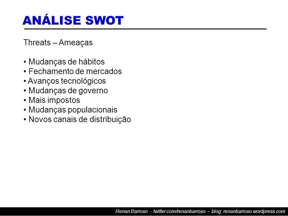 Renan Barroso - twitter.com/renanbarroso – blog: renanbarroso.wordpress.com Threats – Ameaças Mudanças de hábitos Fechamento de mercados Avanços tecnológicos Mudanças de governo Mais impostos Mudanças populacionais Novos canais de distribuição ANÁLISE SWOT