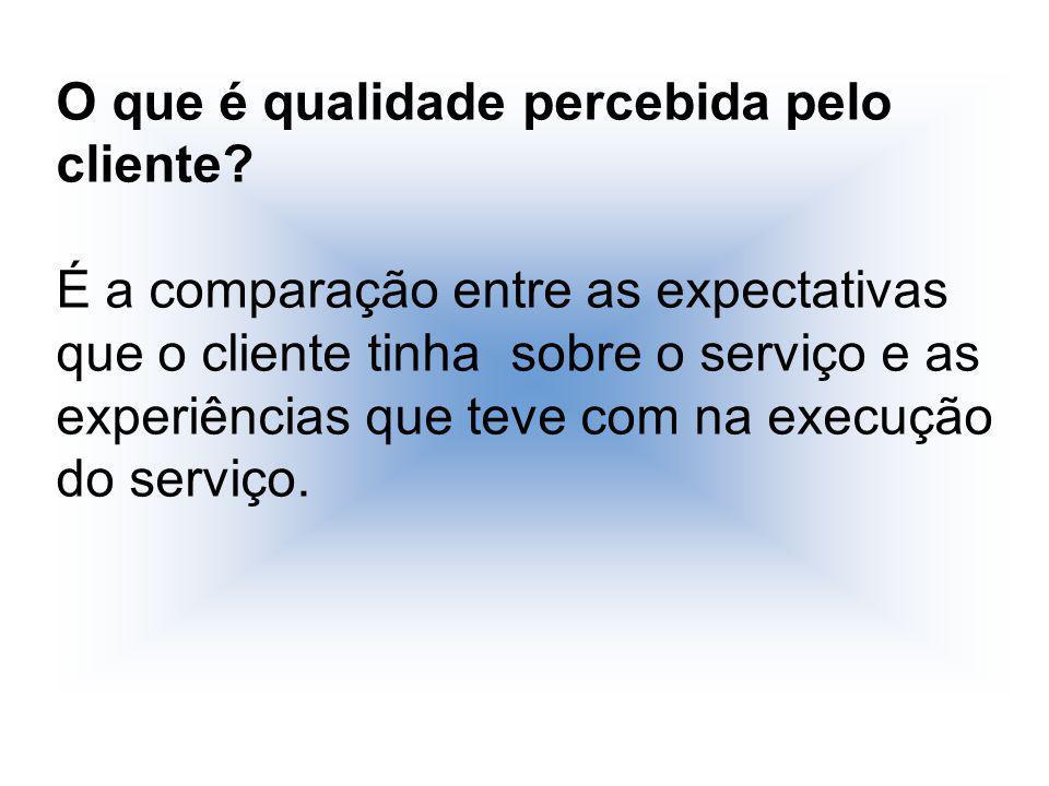 O que é qualidade percebida pelo cliente? É a comparação entre as expectativas que o cliente tinha sobre o serviço e as experiências que teve com na e