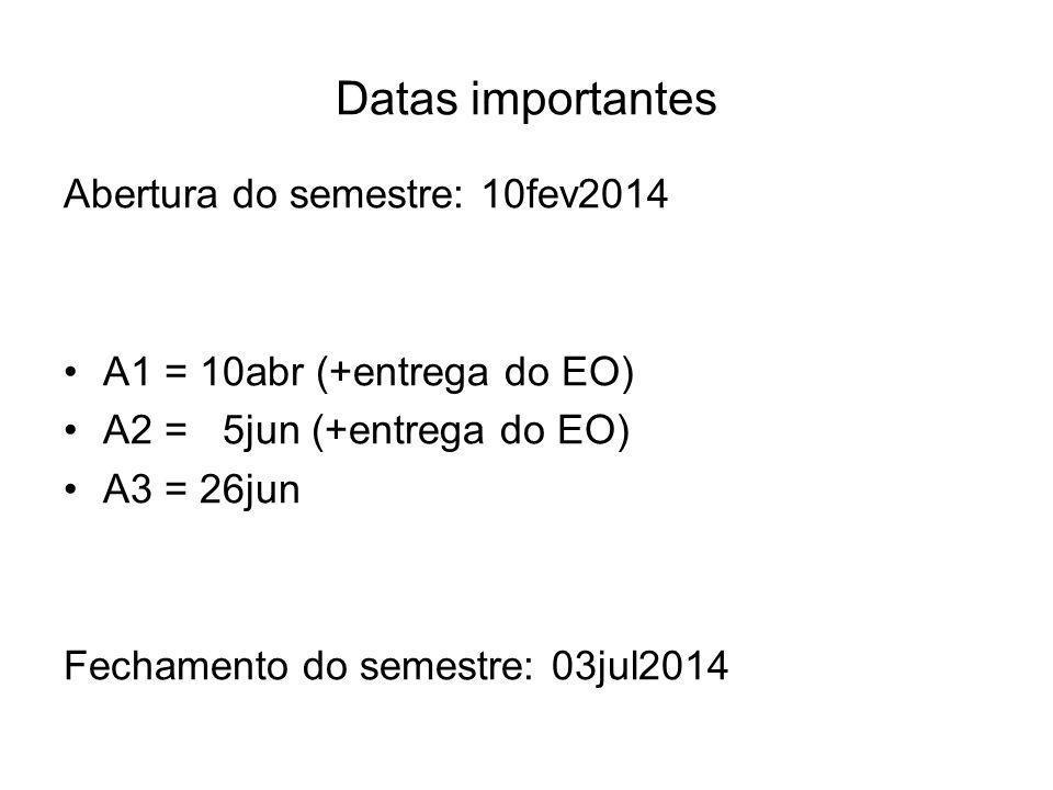 Datas importantes Abertura do semestre: 10fev2014 A1 = 10abr (+entrega do EO) A2 = 5jun (+entrega do EO) A3 = 26jun Fechamento do semestre: 03jul2014