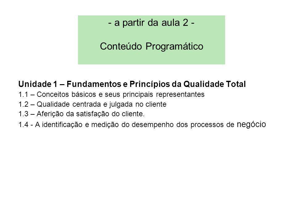 - a partir da aula 2 - Conteúdo Programático Unidade 1 – Fundamentos e Princípios da Qualidade Total 1.1 – Conceitos básicos e seus principais representantes 1.2 – Qualidade centrada e julgada no cliente 1.3 – Aferição da satisfação do cliente.