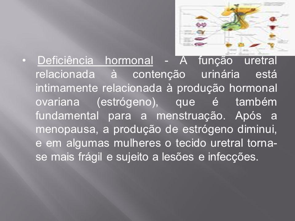 Deficiência hormonal - A função uretral relacionada à contenção urinária está intimamente relacionada à produção hormonal ovariana (estrógeno), que é