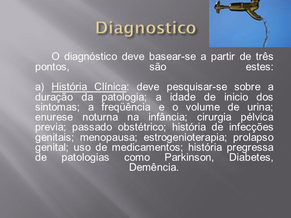O diagnóstico deve basear-se a partir de três pontos, são estes: a) História Clínica: deve pesquisar-se sobre a duração da patologia; a idade de inici