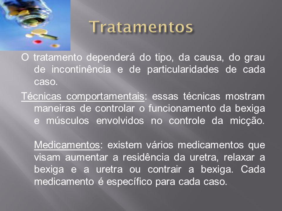O tratamento dependerá do tipo, da causa, do grau de incontinência e de particularidades de cada caso. Técnicas comportamentais: essas técnicas mostra