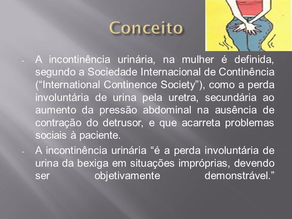 - A incontinência urinária, na mulher é definida, segundo a Sociedade Internacional de Continência (International Continence Society), como a perda in