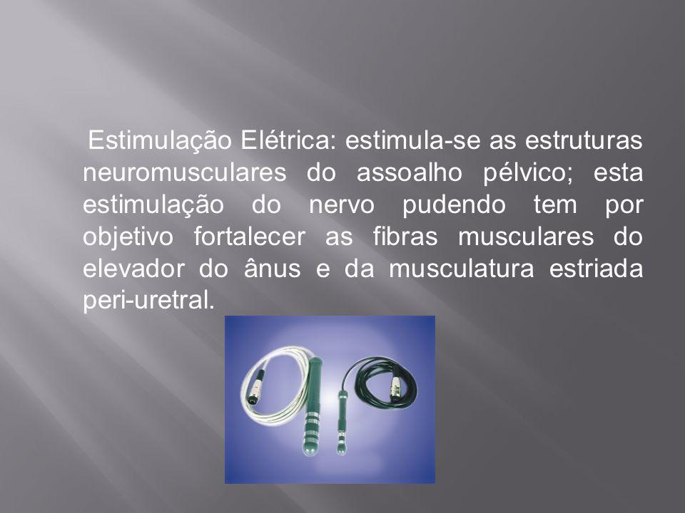 Estimulação Elétrica: estimula-se as estruturas neuromusculares do assoalho pélvico; esta estimulação do nervo pudendo tem por objetivo fortalecer as