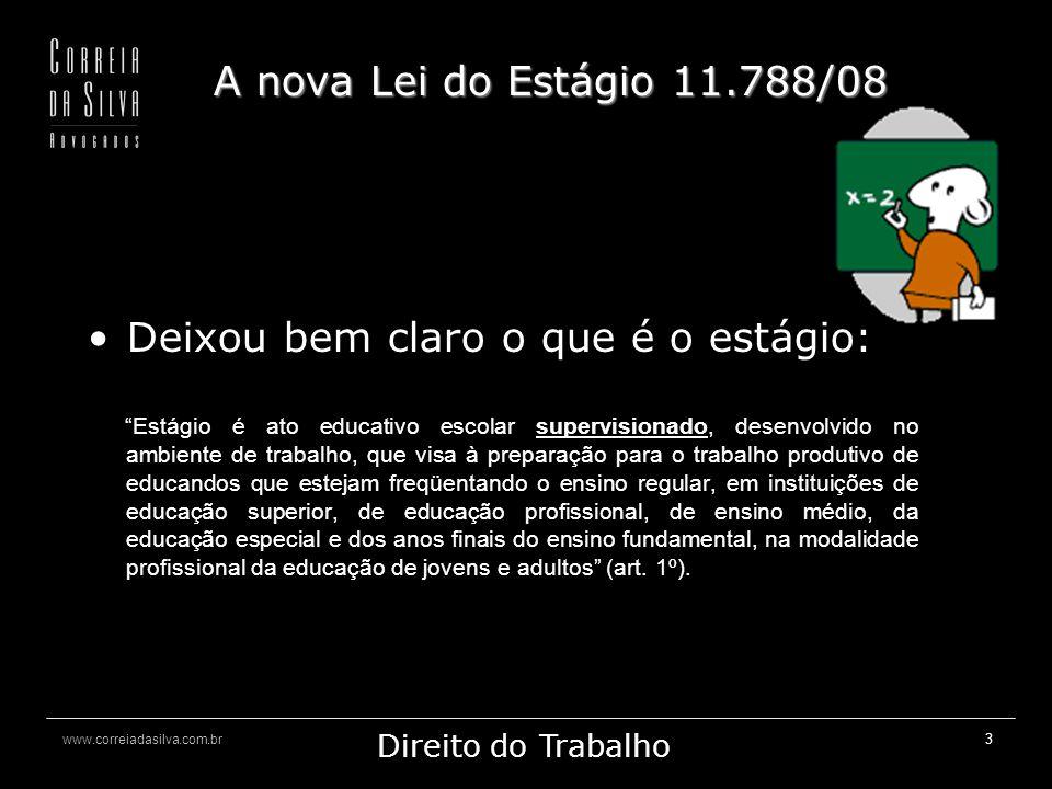 www.correiadasilva.com.br Marketing Jurídico Direito do Trabalho 14 A nova Lei do Estágio 11.788/08 -Os portadores de deficiência têm assegurado 10% das vagas ofertadas (art.
