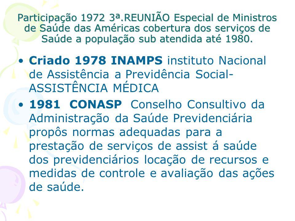 Participação 1972 3ª.REUNIÃO Especial de Ministros de Saúde das Américas cobertura dos serviços de Saúde a população sub atendida até 1980. Criado 197