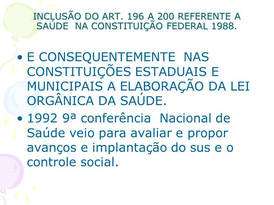 INCLUSÃO DO ART. 196 A 200 REFERENTE A SAÚDE NA CONSTITUIÇÃO FEDERAL 1988. E CONSEQUENTEMENTE NAS CONSTITUIÇÕES ESTADUAIS E MUNICIPAIS A ELABORAÇÃO DA