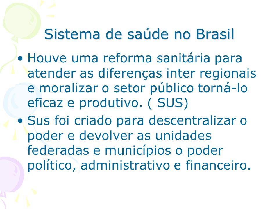 Sistema de saúde no Brasil Houve uma reforma sanitária para atender as diferenças inter regionais e moralizar o setor público torná-lo eficaz e produt