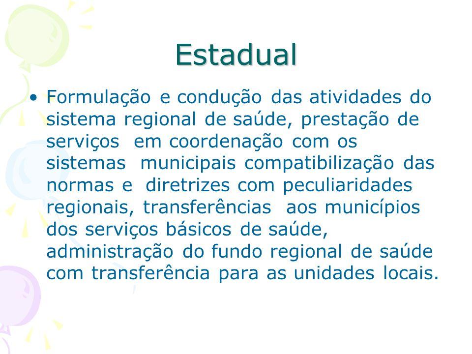 Estadual Formulação e condução das atividades do sistema regional de saúde, prestação de serviços em coordenação com os sistemas municipais compatibil