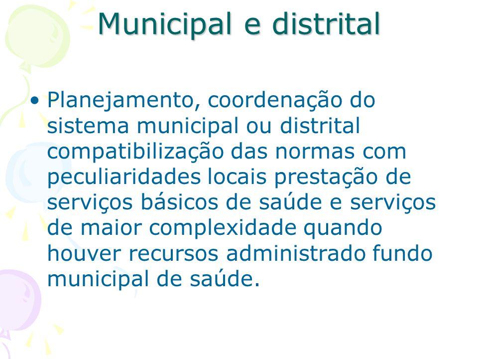 Municipal e distrital Planejamento, coordenação do sistema municipal ou distrital compatibilização das normas com peculiaridades locais prestação de s
