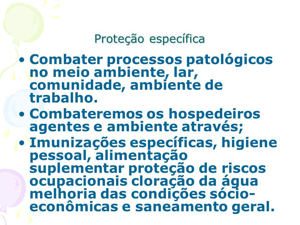 Proteção específica Combater processos patológicos no meio ambiente, lar, comunidade, ambiente de trabalho. Combateremos os hospedeiros agentes e ambi