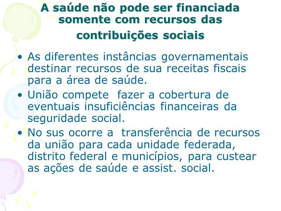 A saúde não pode ser financiada somente com recursos das contribuições sociais As diferentes instâncias governamentais destinar recursos de sua receit