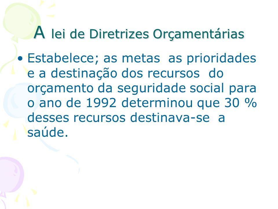 A lei de Diretrizes Orçamentárias Estabelece; as metas as prioridades e a destinação dos recursos do orçamento da seguridade social para o ano de 1992