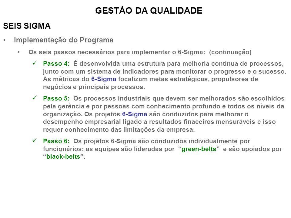 SEIS SIGMA Implementação do Programa Os seis passos necessários para implementar o 6-Sigma: (continuação) Passo 4: É desenvolvida uma estrutura para m