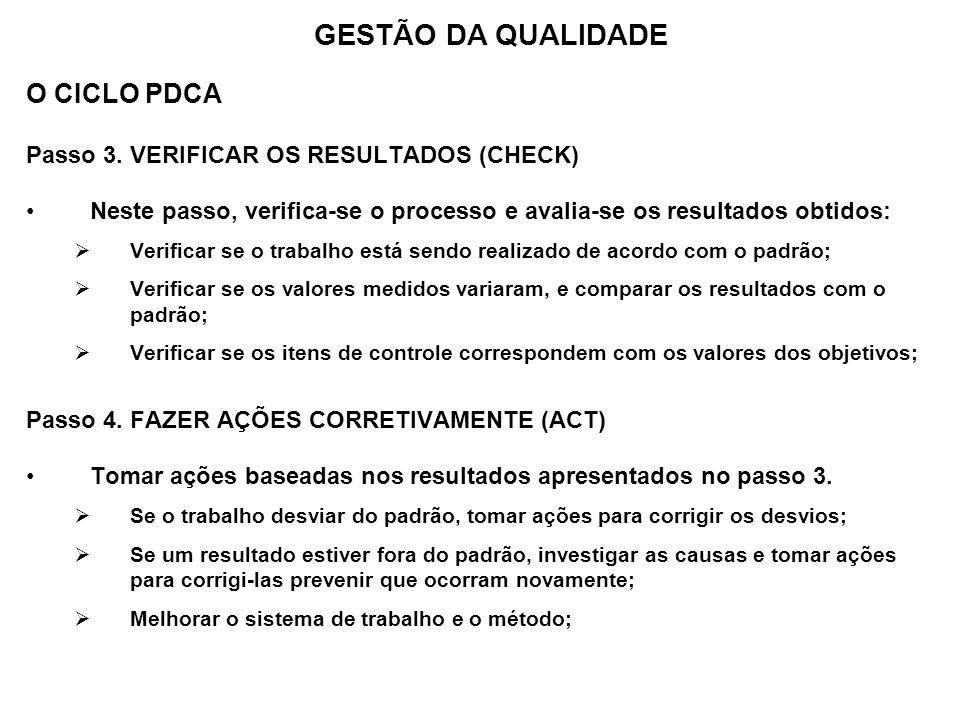 O CICLO PDCA Passo 3. VERIFICAR OS RESULTADOS (CHECK) Neste passo, verifica-se o processo e avalia-se os resultados obtidos: Verificar se o trabalho e