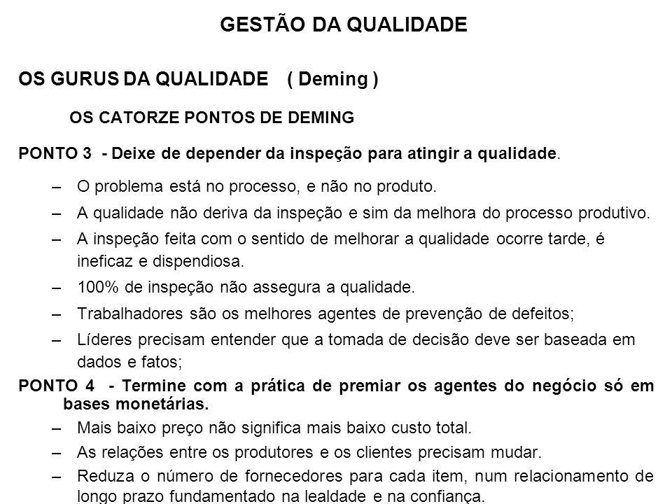 OS GURUS DA QUALIDADE ( Deming ) OS CATORZE PONTOS DE DEMING PONTO 3 - Deixe de depender da inspeção para atingir a qualidade. –O problema está no pro