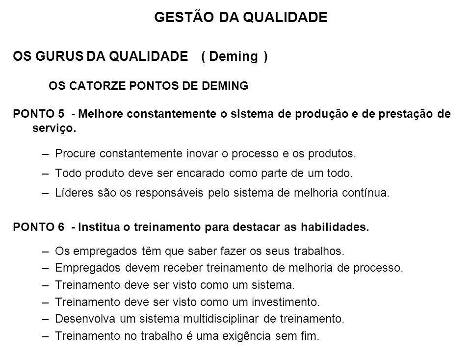 OS GURUS DA QUALIDADE ( Deming ) OS CATORZE PONTOS DE DEMING PONTO 5 - Melhore constantemente o sistema de produção e de prestação de serviço. –Procur
