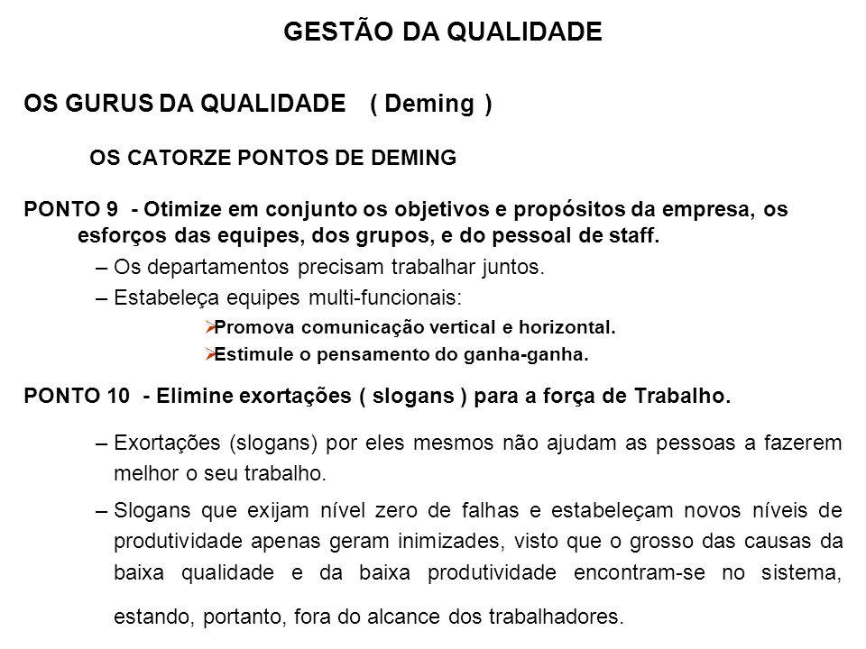 OS GURUS DA QUALIDADE ( Deming ) OS CATORZE PONTOS DE DEMING PONTO 9 - Otimize em conjunto os objetivos e propósitos da empresa, os esforços das equip