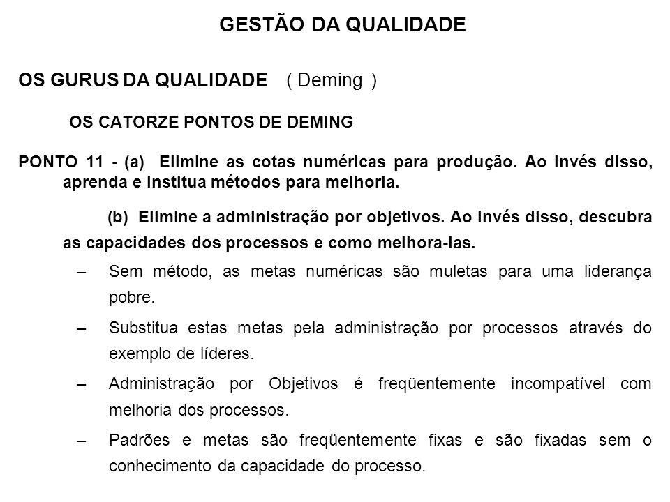 OS GURUS DA QUALIDADE ( Deming ) OS CATORZE PONTOS DE DEMING PONTO 11 - (a) Elimine as cotas numéricas para produção. Ao invés disso, aprenda e instit