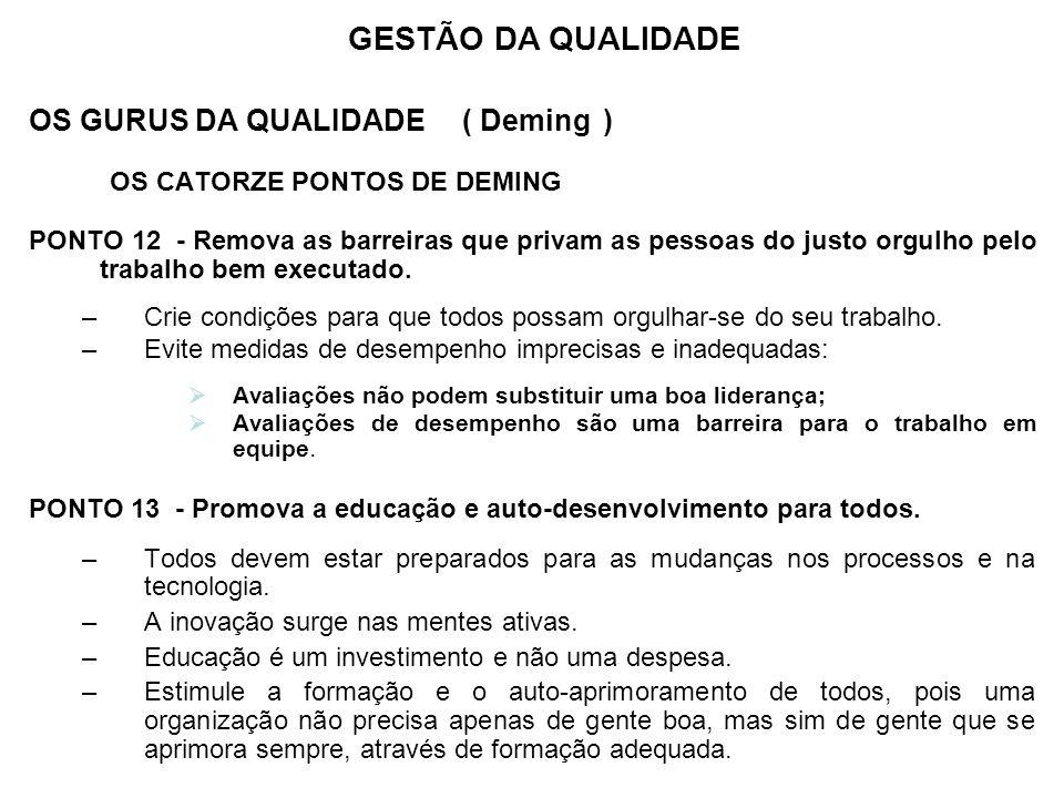 OS GURUS DA QUALIDADE ( Deming ) OS CATORZE PONTOS DE DEMING PONTO 12 - Remova as barreiras que privam as pessoas do justo orgulho pelo trabalho bem e