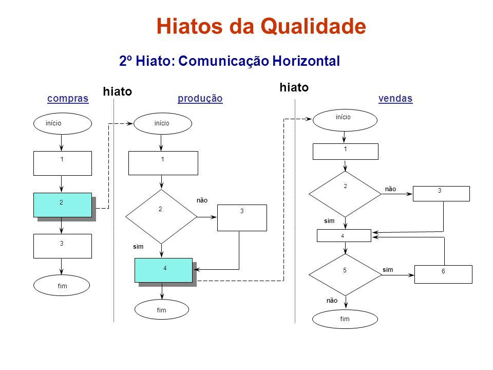 2º Hiato: Comunicação Horizontal início fim 1 2 3 início 1 2 4 3 fim início 1 2 3 4 5 6 fim não sim não sim comprasproduçãovendas hiato Hiatos da Qual