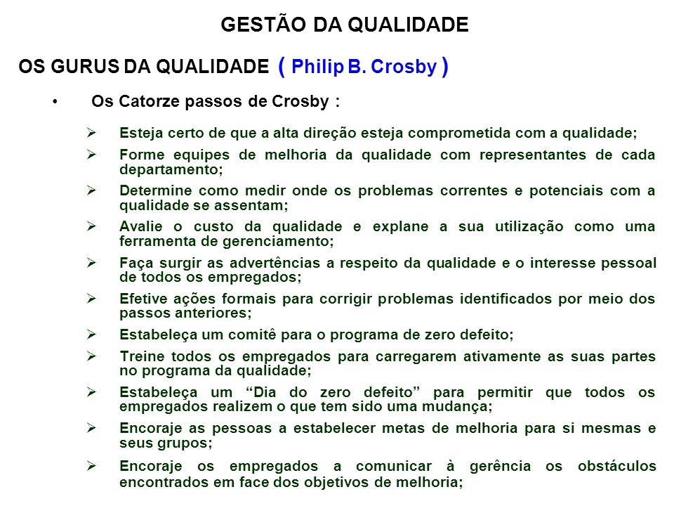 OS GURUS DA QUALIDADE ( Philip B. Crosby ) Os Catorze passos de Crosby : Esteja certo de que a alta direção esteja comprometida com a qualidade; Forme