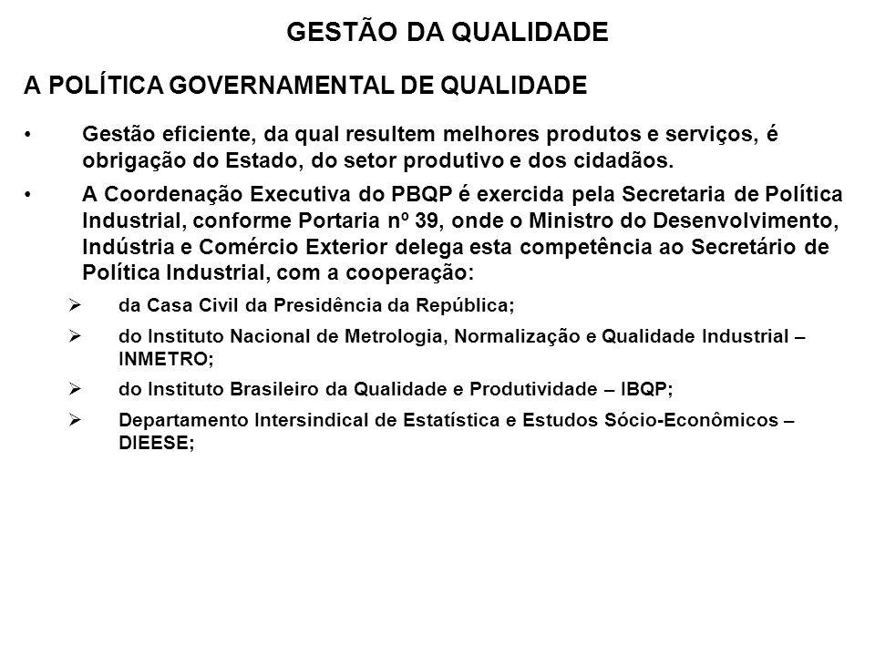 A POLÍTICA GOVERNAMENTAL DE QUALIDADE Gestão eficiente, da qual resultem melhores produtos e serviços, é obrigação do Estado, do setor produtivo e dos