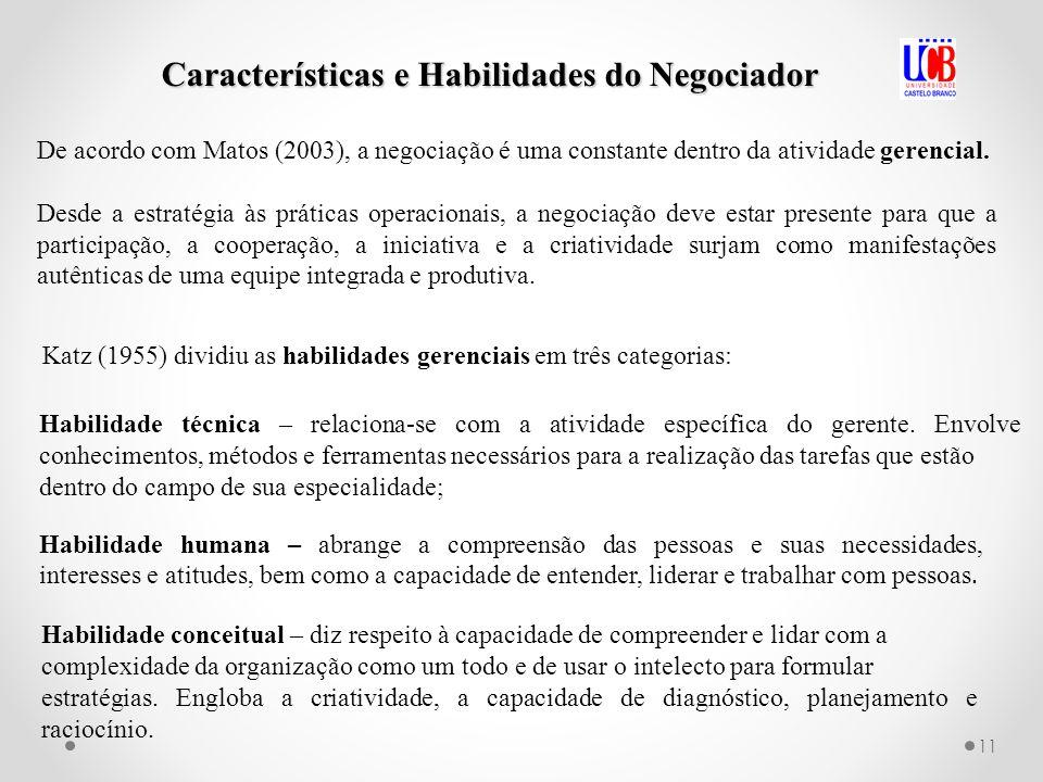 Características e Habilidades do Negociador De acordo com Matos (2003), a negociação é uma constante dentro da atividade gerencial. Desde a estratégia