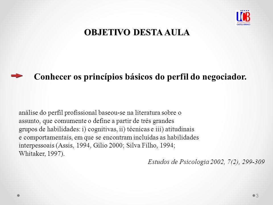 OBJETIVO DESTA AULA Conhecer os princípios básicos do perfil do negociador. análise do perfil profissional baseou-se na literatura sobre o assunto, qu