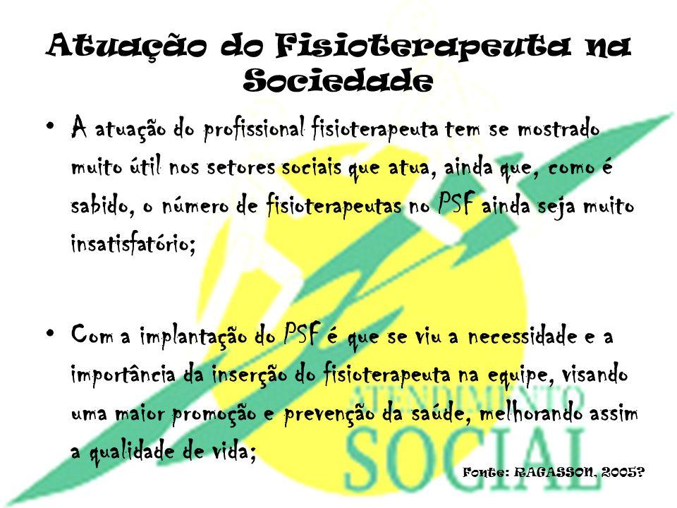 Atuação do Fisioterapeuta na Sociedade A atuação do profissional fisioterapeuta tem se mostrado muito útil nos setores sociais que atua, ainda que, co