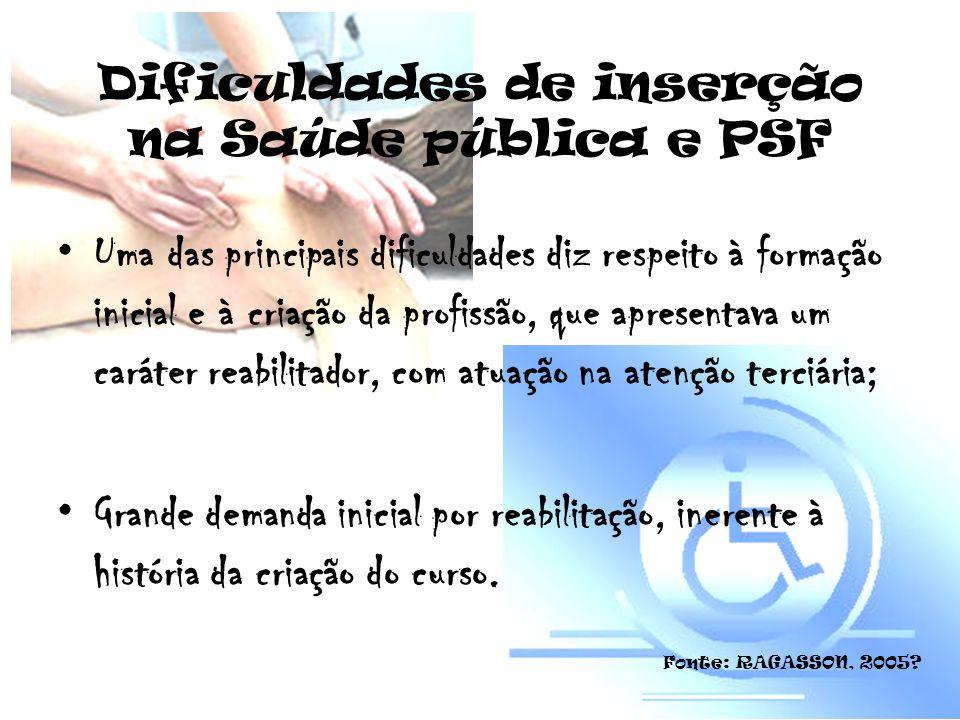 Dificuldades de inserção na Saúde pública e PSF Uma das principais dificuldades diz respeito à formação inicial e à criação da profissão, que apresent