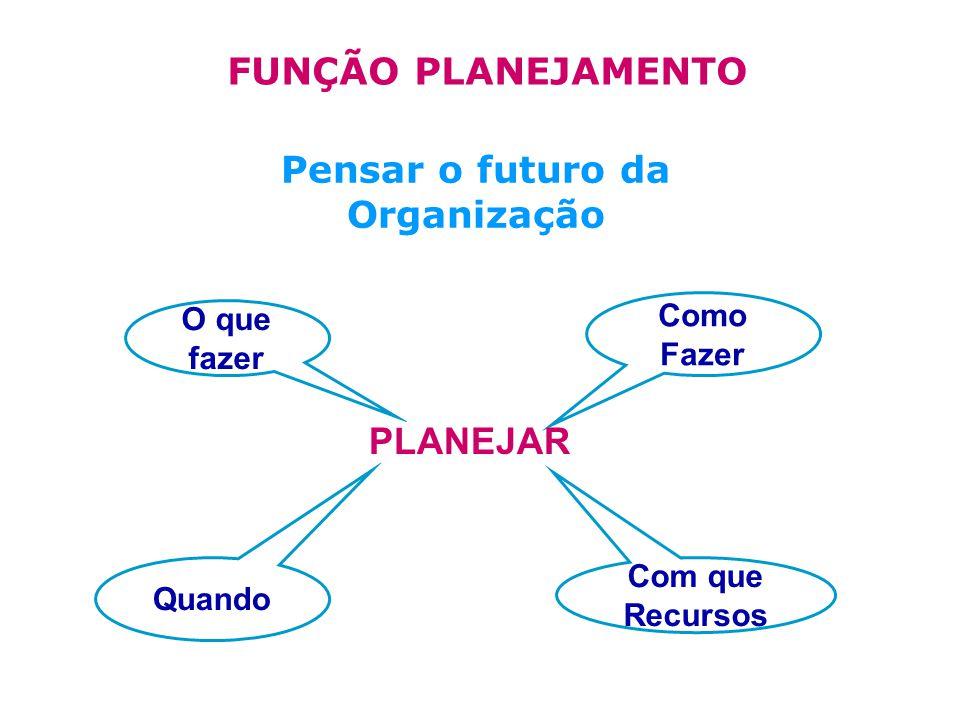 PLANEJAR Pensar o futuro da Organização FUNÇÃO PLANEJAMENTO Quando Com que Recursos O que fazer Como Fazer PLANEJAR
