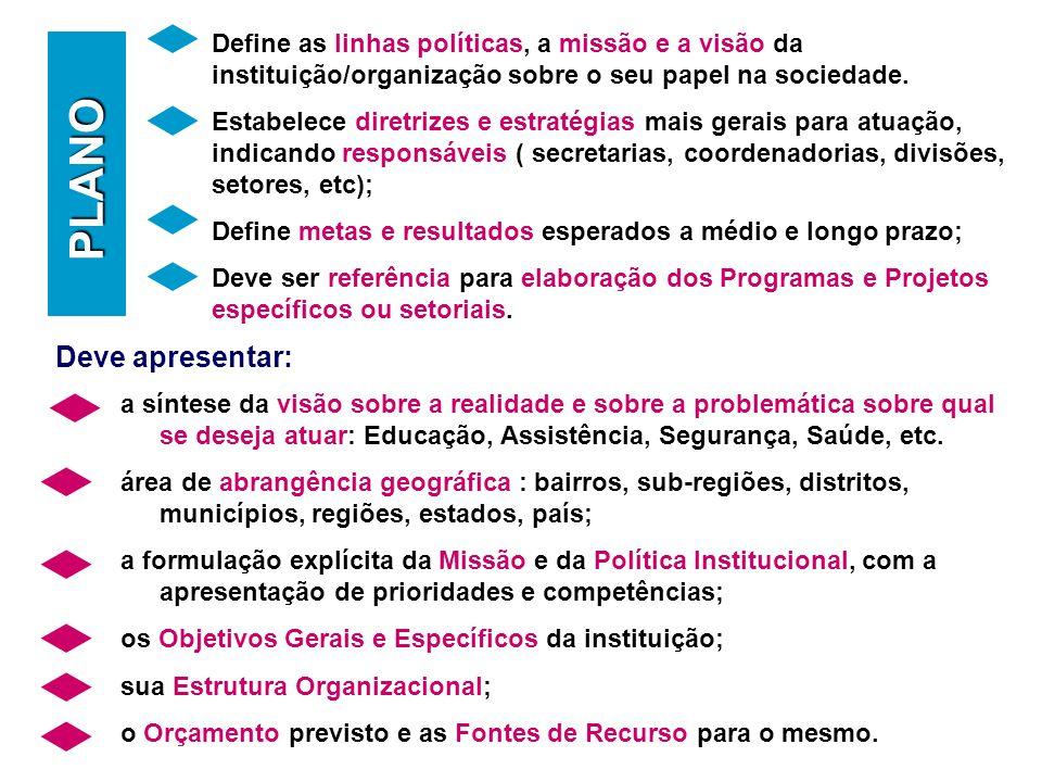 Deve apresentar: PLANO Define as linhas políticas, a missão e a visão da instituição/organização sobre o seu papel na sociedade.