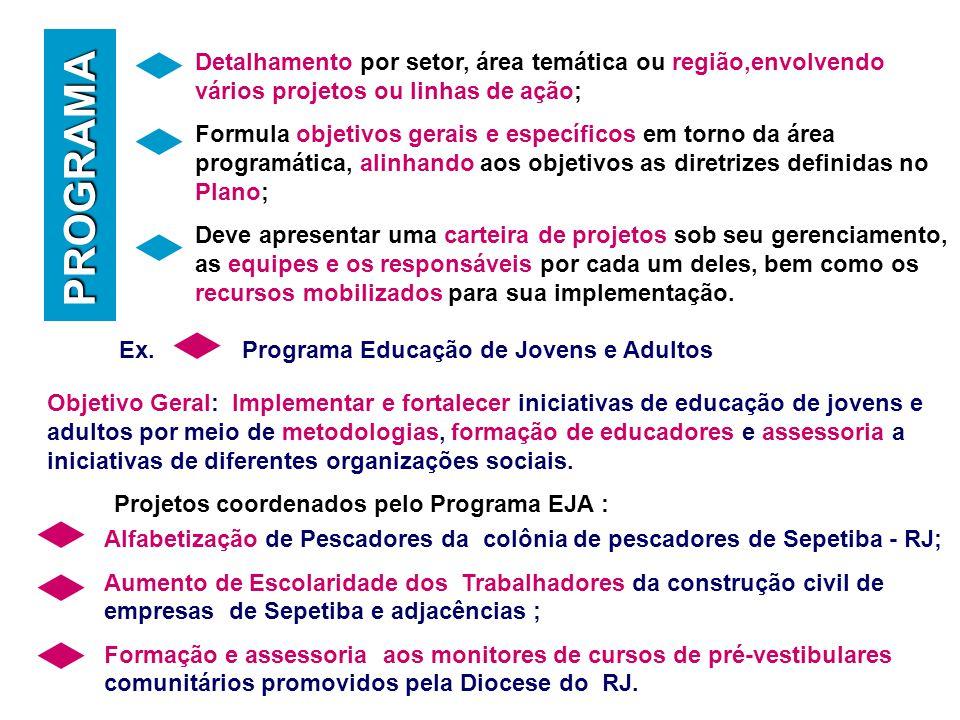 Objetivo Geral: Implementar e fortalecer iniciativas de educação de jovens e adultos por meio de metodologias, formação de educadores e assessoria a iniciativas de diferentes organizações sociais.