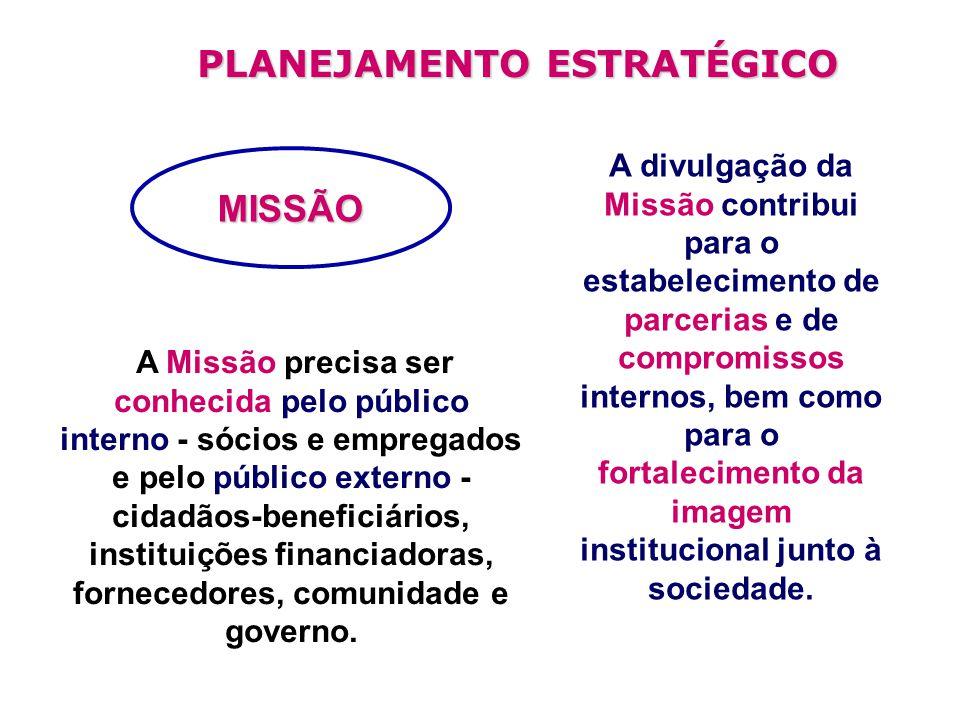 A Missão precisa ser conhecida pelo público interno - sócios e empregados e pelo público externo - cidadãos-beneficiários, instituições financiadoras, fornecedores, comunidade e governo.