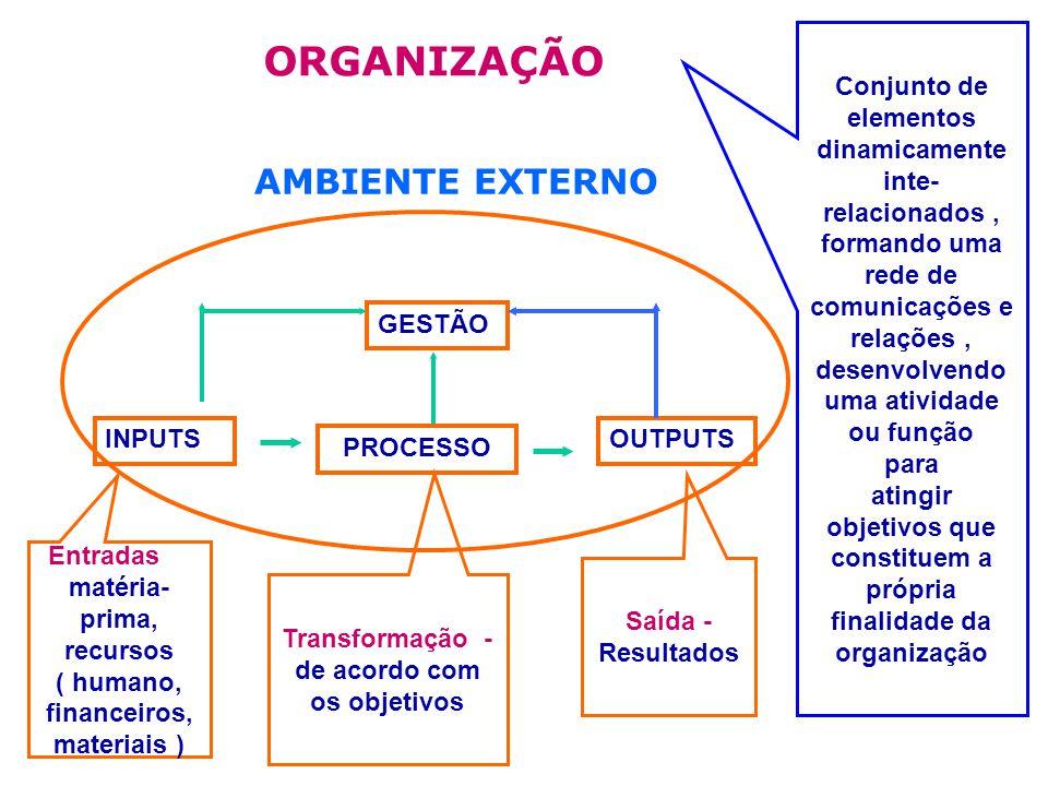 ORGANIZAÇÃO GESTÃO OUTPUTS PROCESSO INPUTS Conjunto de elementos dinamicamente inte- relacionados, formando uma rede de comunicações e relações, desenvolvendo uma atividade ou função para atingir objetivos que constituem a própria finalidade da organização Entradas - matéria- prima, recursos ( humano, financeiros, materiais ) Transformação - de acordo com os objetivos Saída - Resultados AMBIENTE EXTERNO