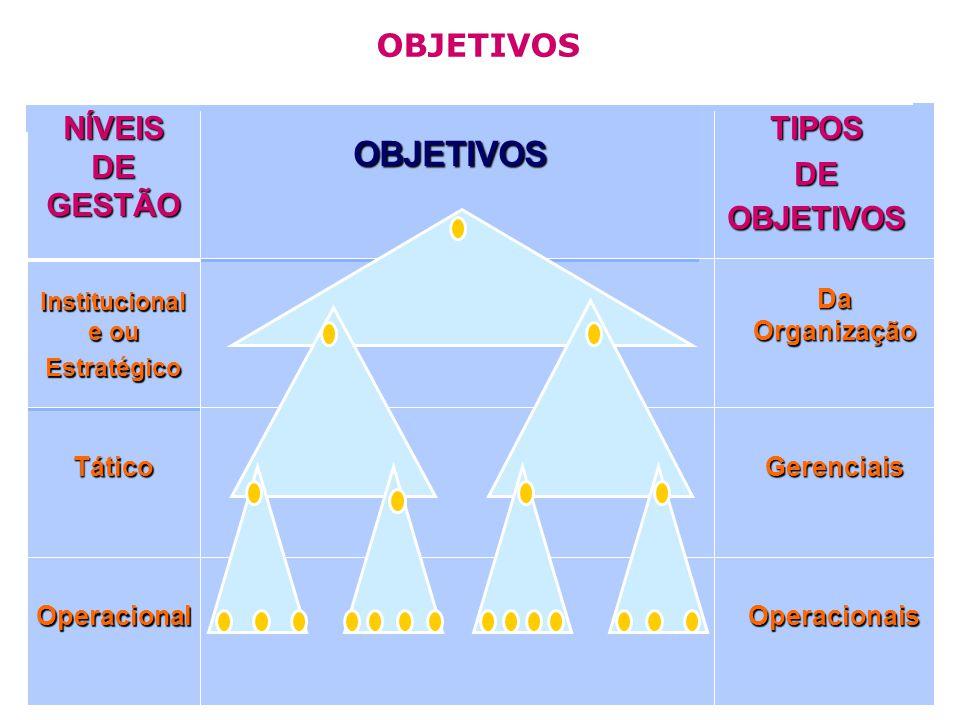 OperacionaisOperacional GerenciaisTático Da Organização Institucional e ou Estratégico TIPOS DE OBJETIVOS OBJETIVOS NÍVEIS DE GESTÃO OBJETIVOS