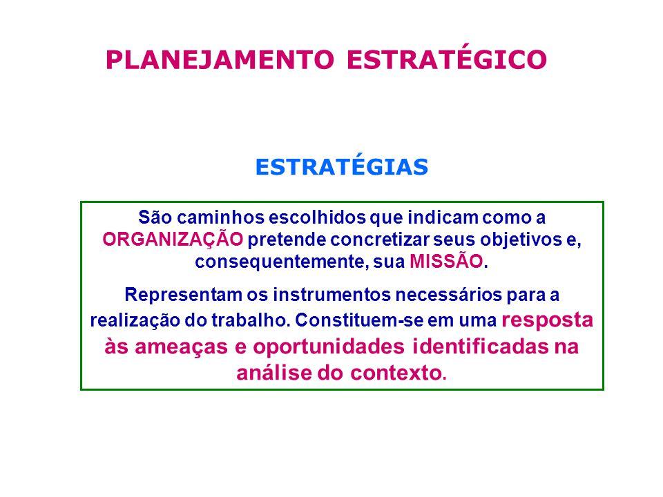 ESTRATÉGIAS São caminhos escolhidos que indicam como a ORGANIZAÇÃO pretende concretizar seus objetivos e, consequentemente, sua MISSÃO.