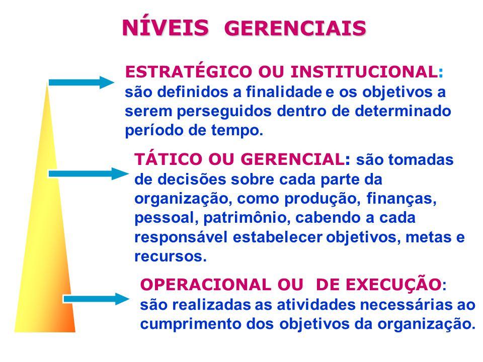 ESTRATÉGICO OU INSTITUCIONAL: são definidos a finalidade e os objetivos a serem perseguidos dentro de determinado período de tempo..