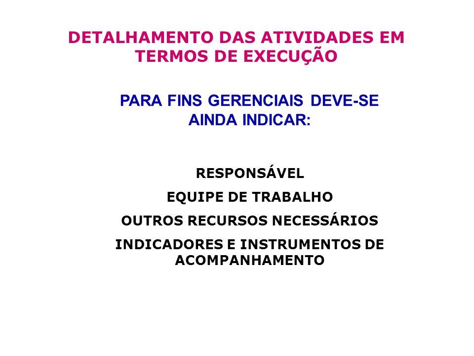 DETALHAMENTO DAS ATIVIDADES EM TERMOS DE EXECUÇÃO PARA FINS GERENCIAIS DEVE-SE AINDA INDICAR: RESPONSÁVEL EQUIPE DE TRABALHO OUTROS RECURSOS NECESSÁRIOS INDICADORES E INSTRUMENTOS DE ACOMPANHAMENTO